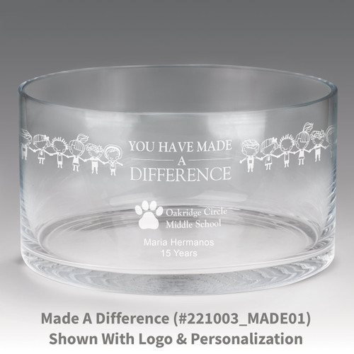 large crystal recognition bowl with you have made a difference message