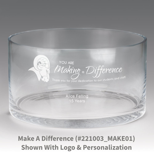 large crystal recognition bowl with you are making a difference message
