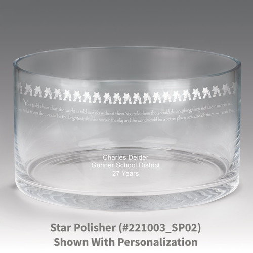 large crystal recognition bowl with star polisher message