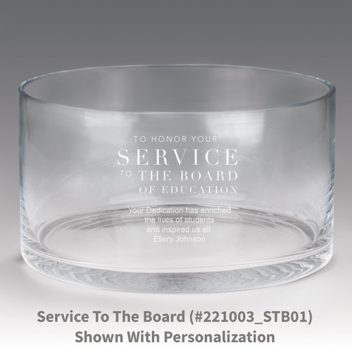 large crystal recognition bowl with service to the board message
