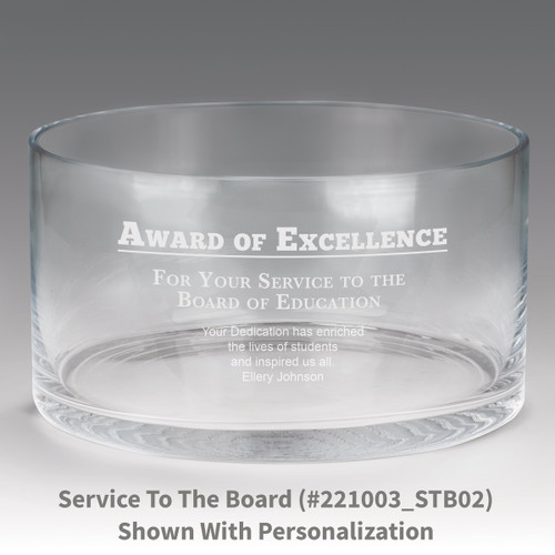 large crystal recognition bowl with award of excellence message