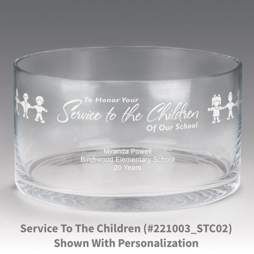 large crystal recognition bowl with service to the children message