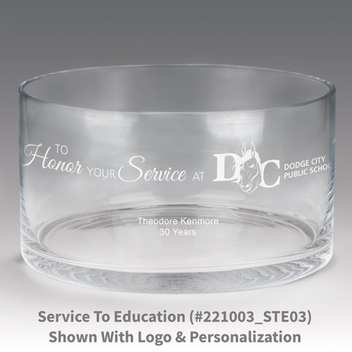 large crystal recognition bowl with to honor your service message