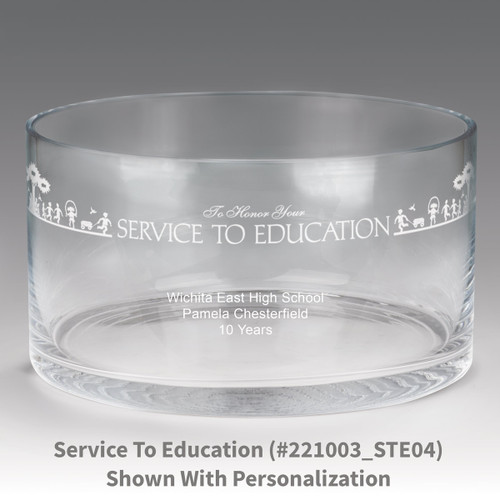 large crystal recognition bowl with service to education message