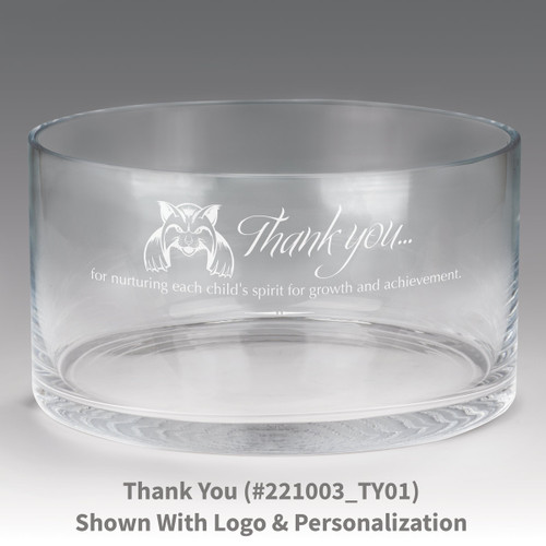 large crystal recognition bowl with thank you message