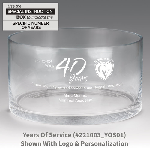 large crystal recognition bowl with years of service message