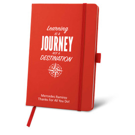 red journal with learning is a journey message and personalization