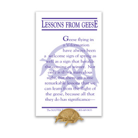 geese flying lapel pin with lessons from geese message card