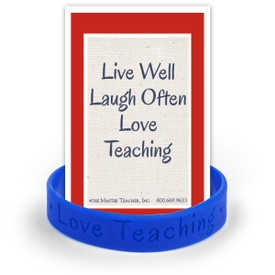silicone wristband in blue with I love teaching message and notecard