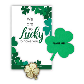 Clover lapel pin with presentation card and clover shape seed paper