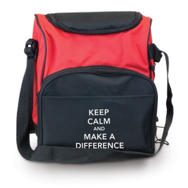 red and black insulated lunch tote bag with Keep Calm and Make A Difference message