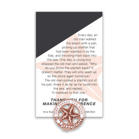 one person can make a difference lapel pin with message card
