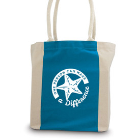 canvas tote bag with blue accent strip and rope handles with make a difference message