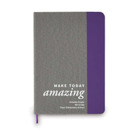 heather gray journal with purple accents and make today amazing message and personalization