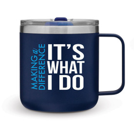 blue 12 oz. stainless steel mug with making a difference message
