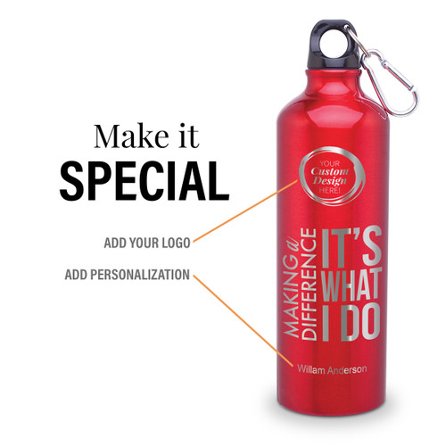 making a difference 24 oz carabiner canteen with add your logo and personalization