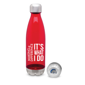 red 25 oz. plastic water bottle with stainless steel base & cap with making a difference message and logo