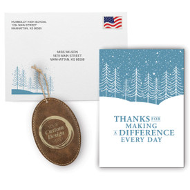 This Appreciation Mailer Kit Includes A Making A Difference Greeting Card With Matching Envelope And A Custom Rustic Ornament. It's the Perfect Holiday Gift for Teachers.