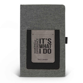 Canvas journal with phone pocket and card holder featuring the inspirational message Making A Difference It's What I Do. 3 colors to choose from.