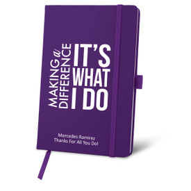purple journal with making a difference message and personalization