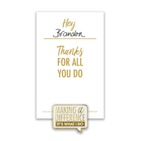 making a difference lapel pin with personalized message card