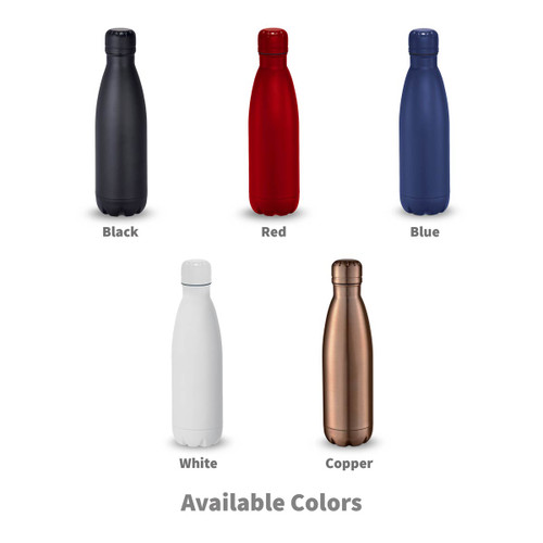 copper, red, navy, and gray stainless steel water bottle with making a difference message
