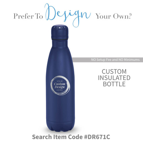 create your own navy stainless steel water bottle