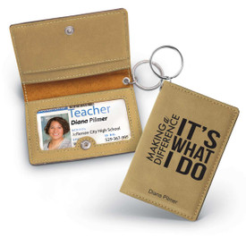 This keychain ID holder in black features our inspirational Making a Difference message and is made of a durable leatherette material making it the perfect functional gift for teachers.