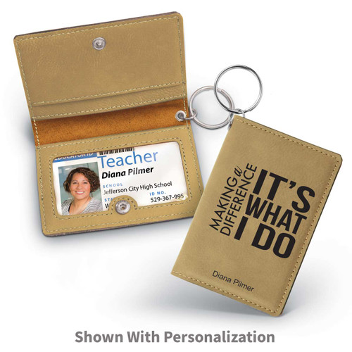 light brown leather id holder with making a difference message