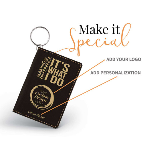 black leather id holder with making a difference message and add you logo