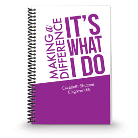 coil bound notebook with making a difference message and personalization in pink