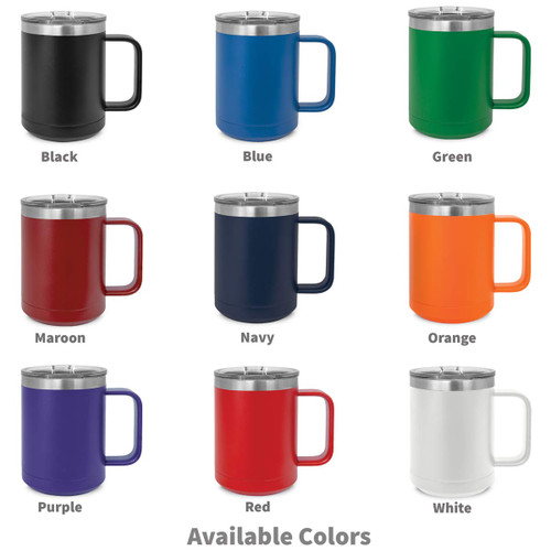 multiple colors of insulated coffee mugs with making a difference message and personalization