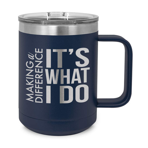 navy stainless steel mug with making a difference message