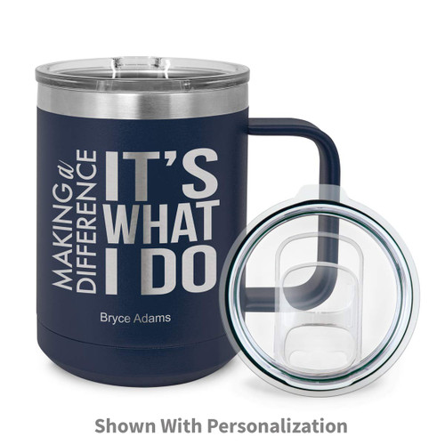 navy stainless steel mug with making a difference message and personalization