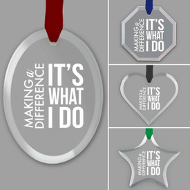 different shapes of crystal ornament with making a difference message and satin ribbon