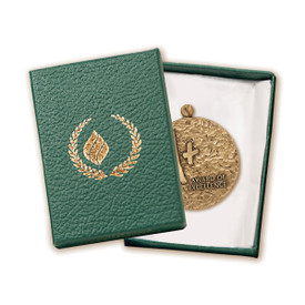 teal gift box with medal