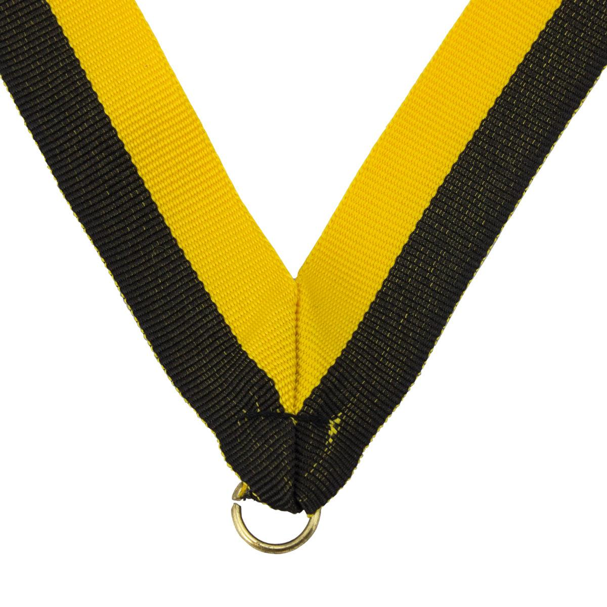 durable neck ribbon in black and gold with brass jump ring