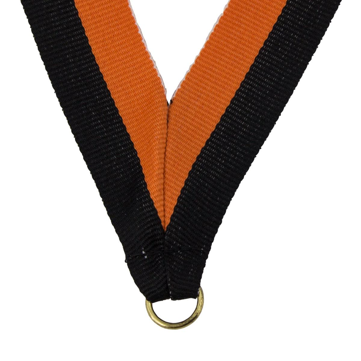 durable neck ribbon in black and orange with brass jump ring