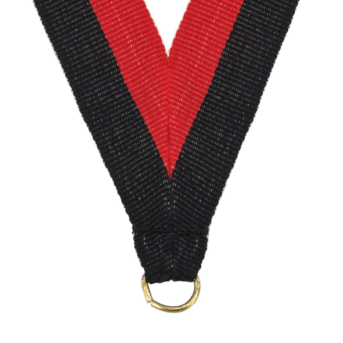 durable neck ribbon in black and red with brass jump ring