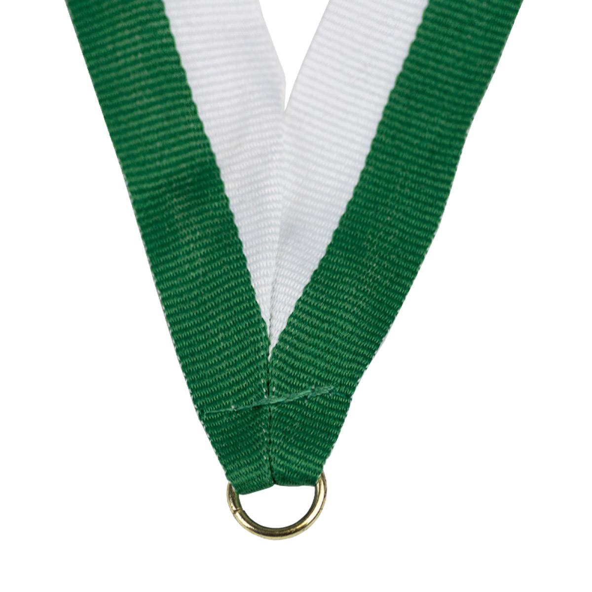 durable neck ribbon in green and white with brass jump ring