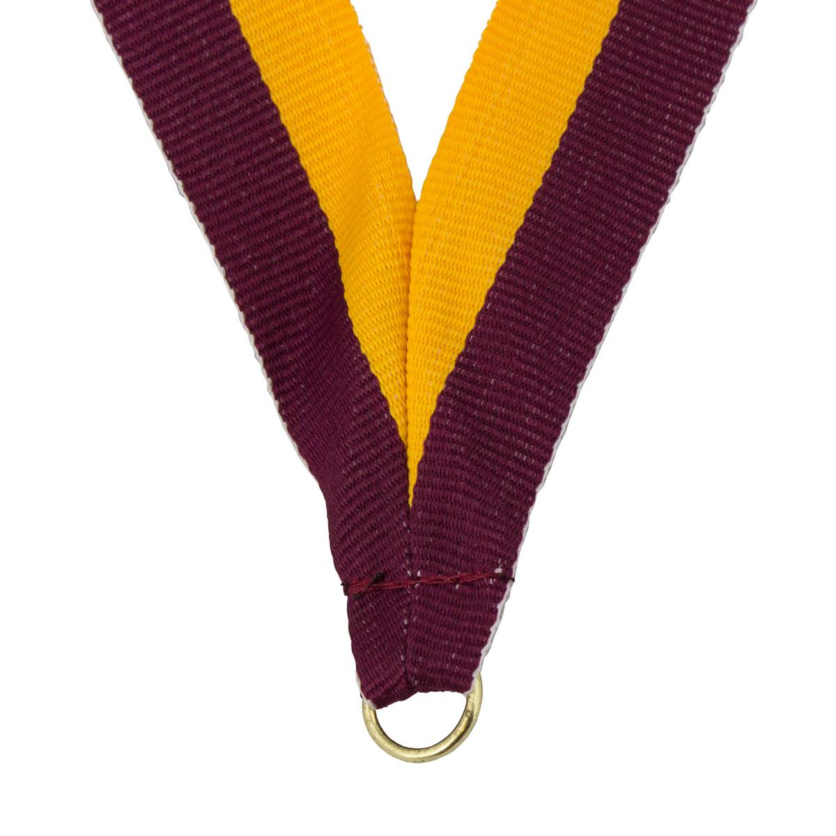 durable neck ribbon in maroon and gold with brass jump ring