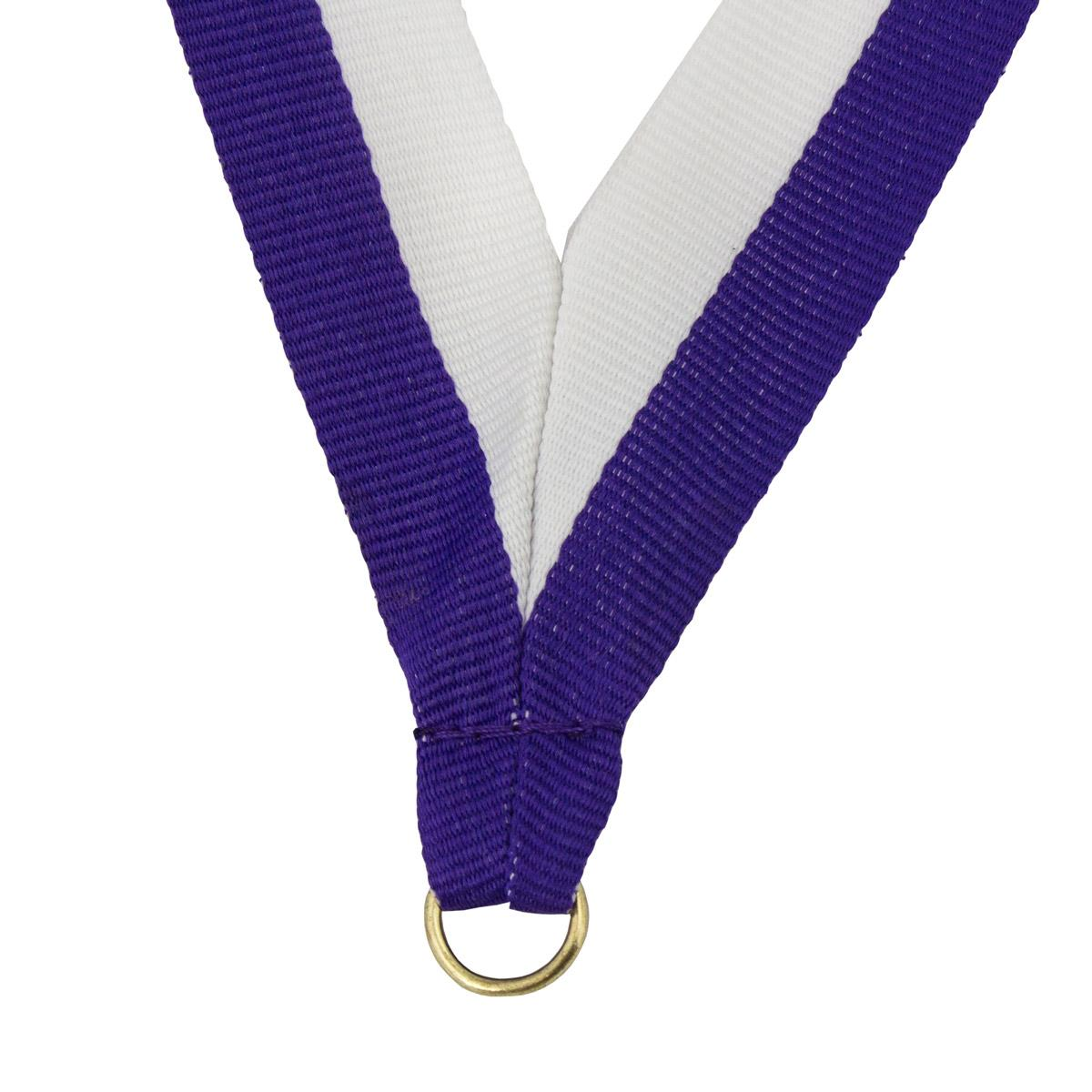 durable neck ribbon in purple and white with brass jump ring
