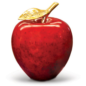 natural stone apple with a brass stem