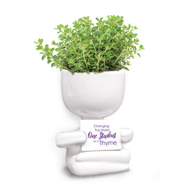 This People Planter Kit Features The Message: Changing The World One Student At A Thyme. Grows Thyme.