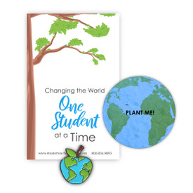 "This Colorful Apple Lapel Pin And Seed Paper Shape That Grows Wildflowers Features The Inspirational Message ""Changing the World One Student at a Time"""