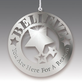 stainless steel ornament with believe message and silver cord