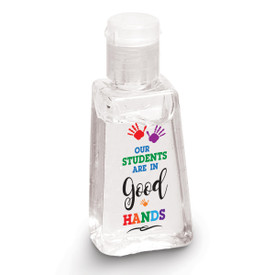 "1 oz. Antibacterial Hand Sanitizer Gel Featuring The Inspirational Message ""Our Students Are In Good Hands"""