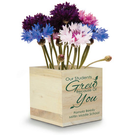 """This Natural Pine Wood Plant Kit With Clover Seeds Features The Inspirational Message """"Our Students Grew Because Of You"""""""