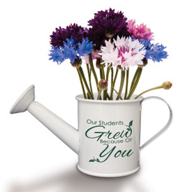 "This Mini Watering Can Kit With Patriotic Flower Seeds Features The Inspirational Message ""Our Students Grew Because Of You"""