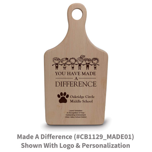 maple paddle cutting board with made a difference message